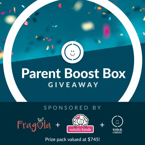 We are announcing our Parent Boost Box Giveaway! With sponsors from Fragola, Mabel's Labels and Kids & Company!
