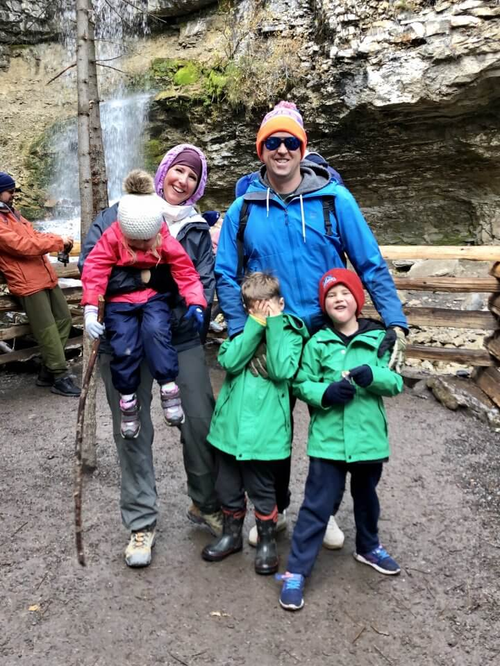 Family outside hiking together