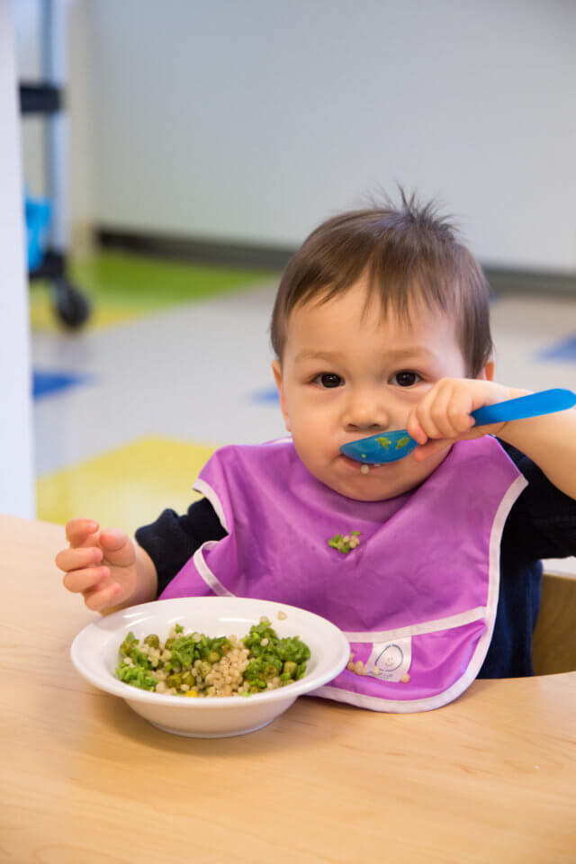 eating healthy meal at daycare