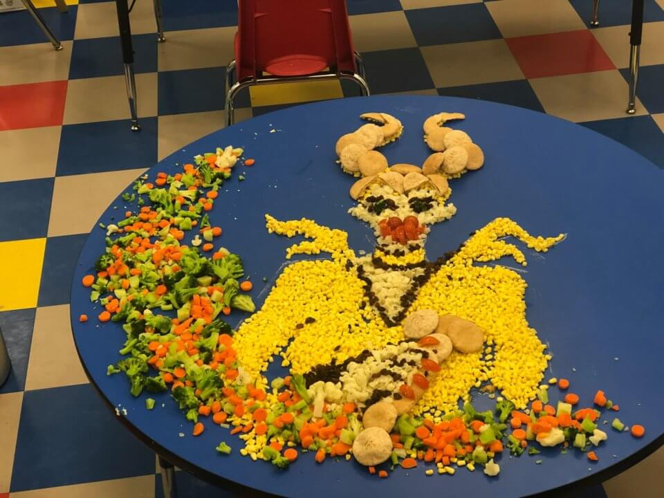 Maleficent character made out of vegetables