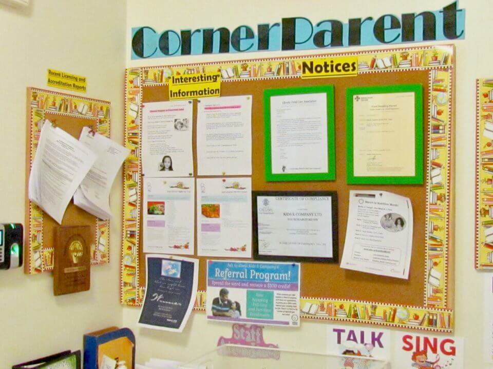 Bulletin Board with information for parents
