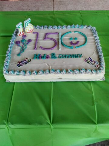 15th anniversary for kids and company cake celebration