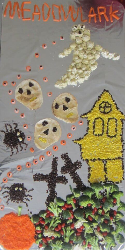 Halloween scene made of vegetables
