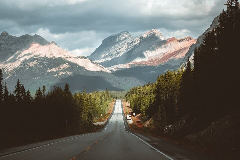 Alberta mountains and a road