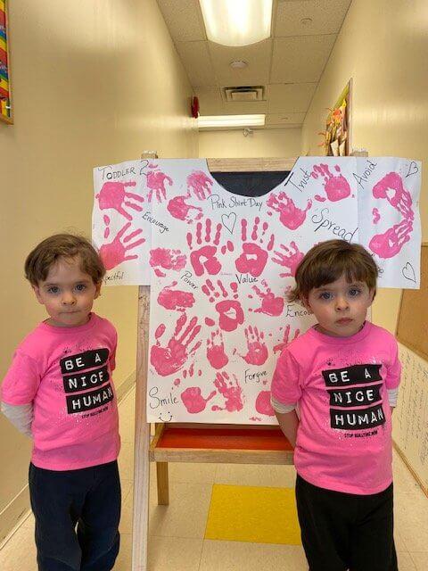 children celebrating pink shirt day