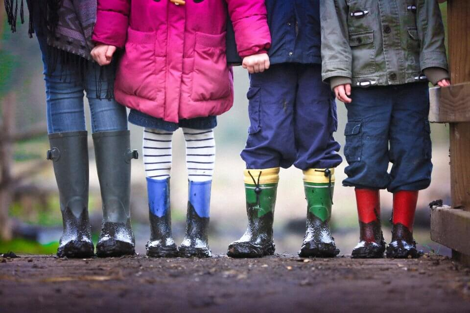 Children holding hands and wearing rain boots and rain coats