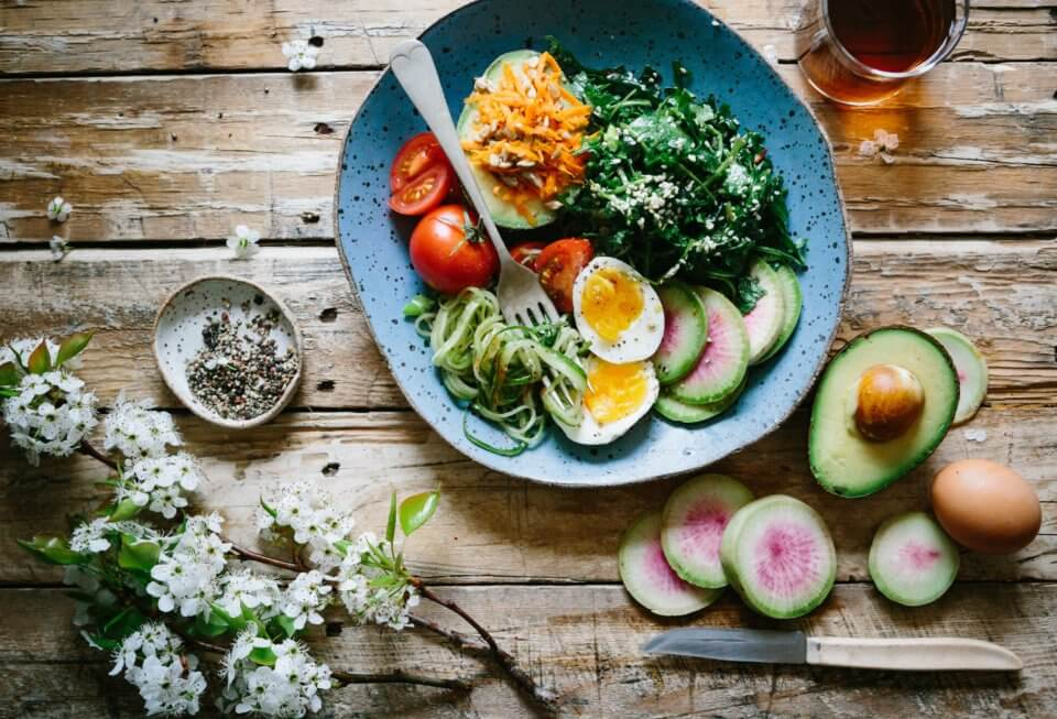 Vegetarian meal on a wooden table