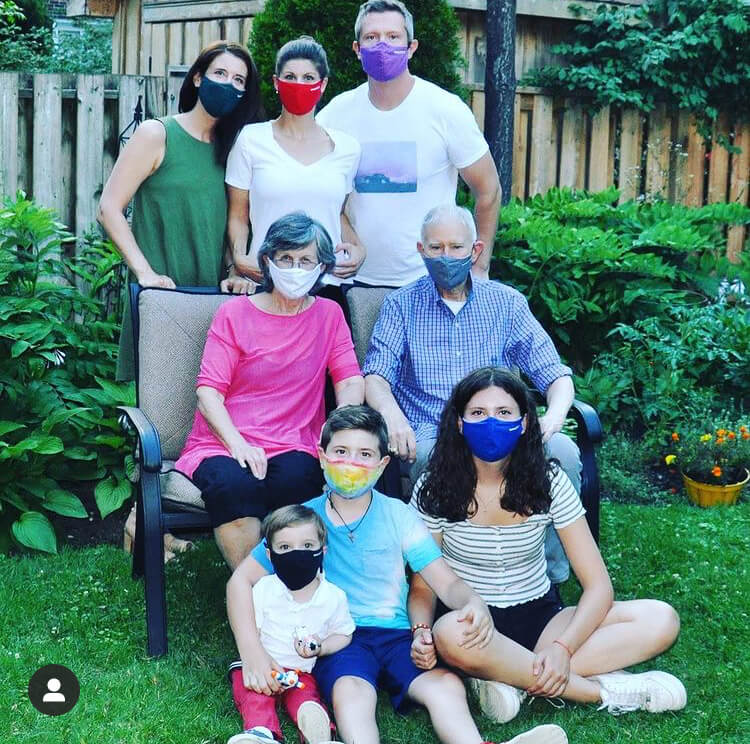 Family during covid-19 wearing masks