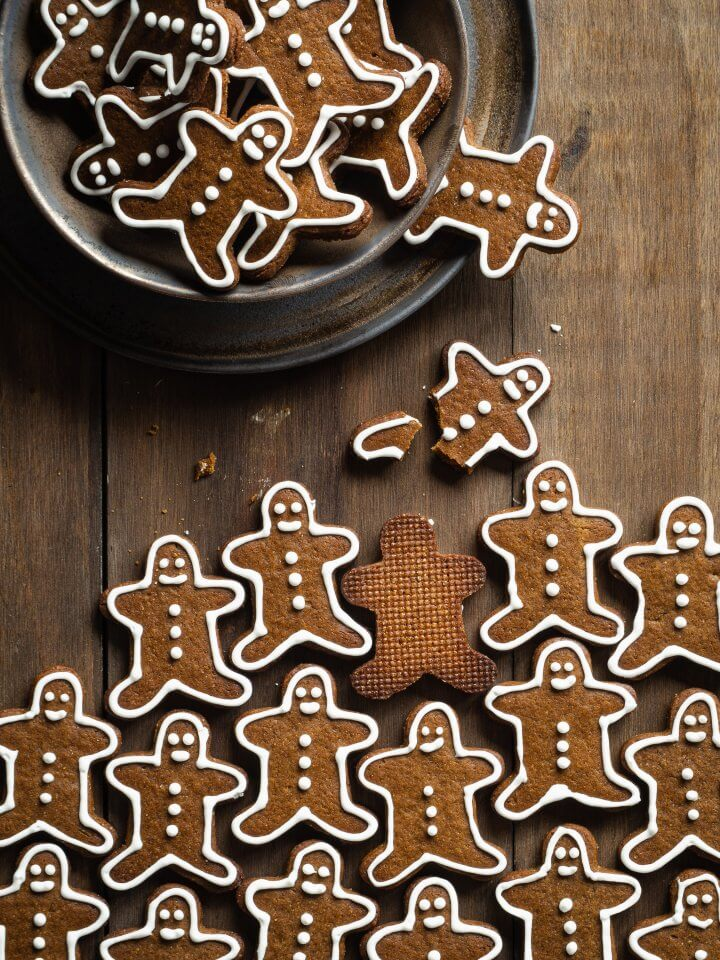 Gingerbread cookies on a wooden table