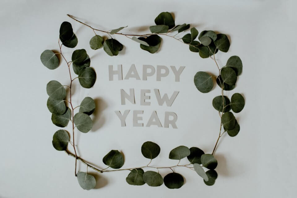 Happy New Year image with leaf boarder
