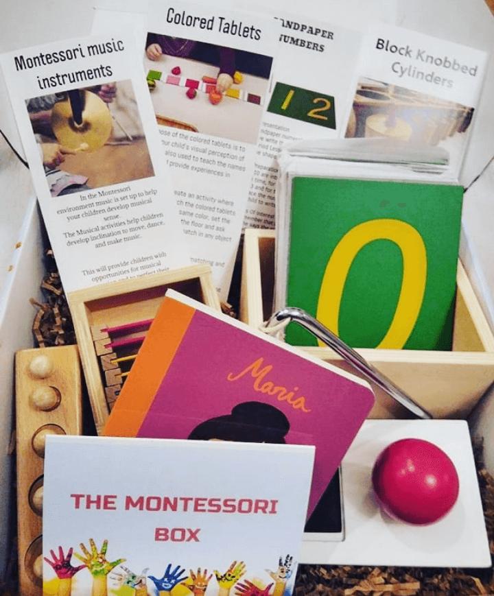 Montessori box with goodies inside