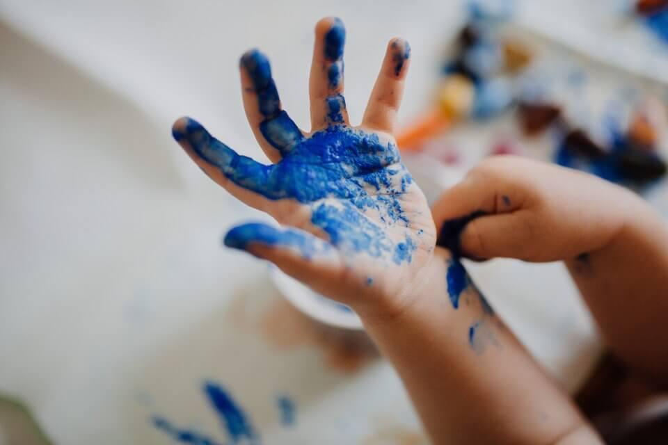 Child handprint blue