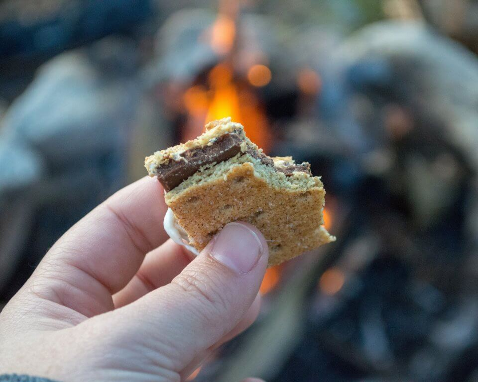 S'mores by a fire